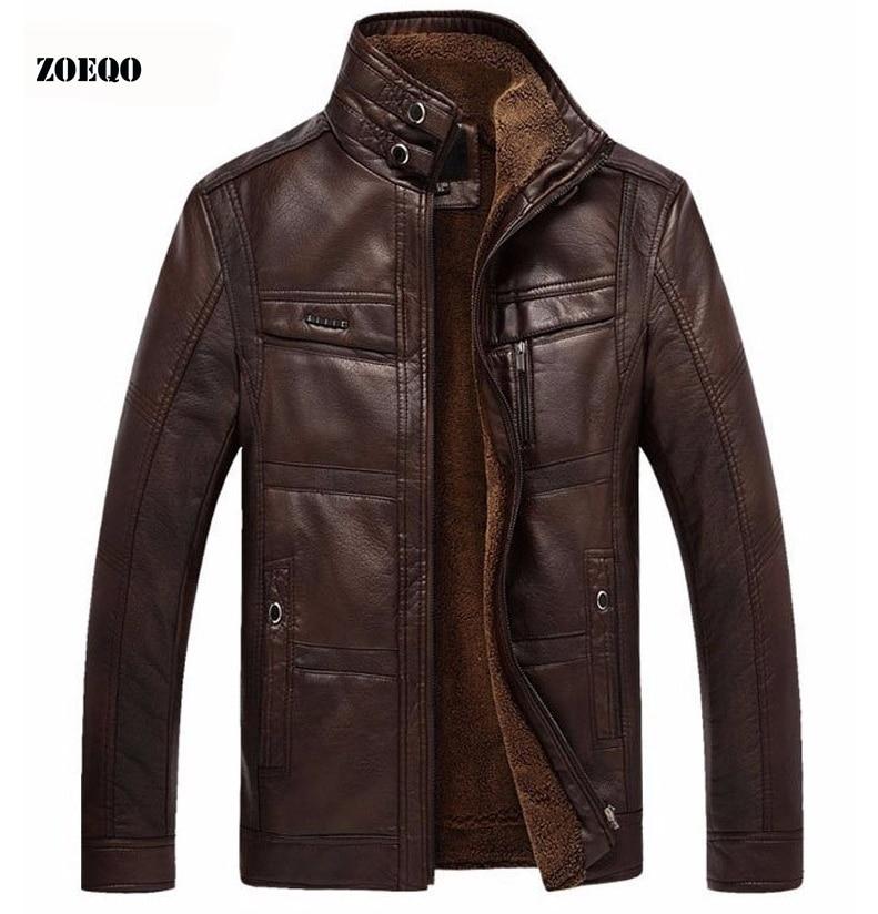 Jaqueta de couro masculina casaco de couro grosso do plutônio dos homens jaqueta de lã de pele do falso de inverno casual
