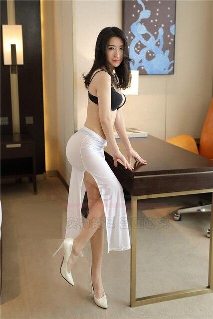 Women Lady Slim Sexy Skirt Ultra Thin Transparent High -8046