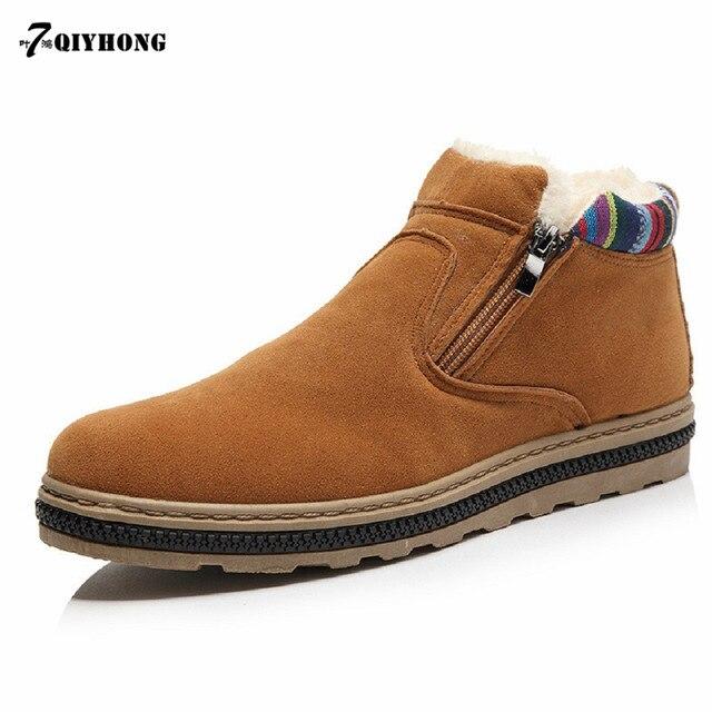 QIYHONG Marca 2017 Del Nuevo Hombre de la Nieve Keep Warm Moda Zapatos de Los Hombres de ocio Negro Y Azul Y El Color De La vino
