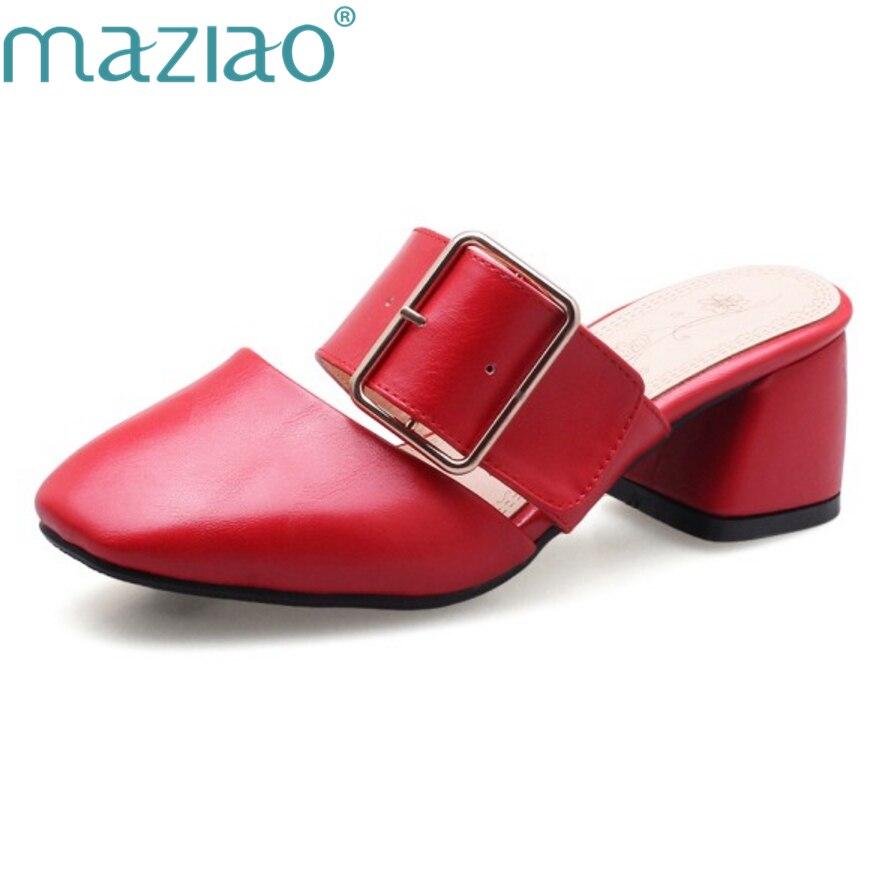 069f6fd0 Nueva Señoras Maziao Mujeres Zapatillas Pie blanco amarillo Del Verano  Cuadrado Mulas Tacón De rojo Negro Moda Las Corte Dedo Zapatos Diapositivas  qXqfv0wP