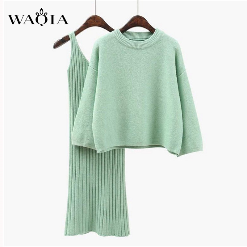 WAQIA 2018 Autumn Womans Sweater + Straped Dress Sets Solid Female Casual Two-Pieces Suits Loose Sweater Knit Mini Dress Winter