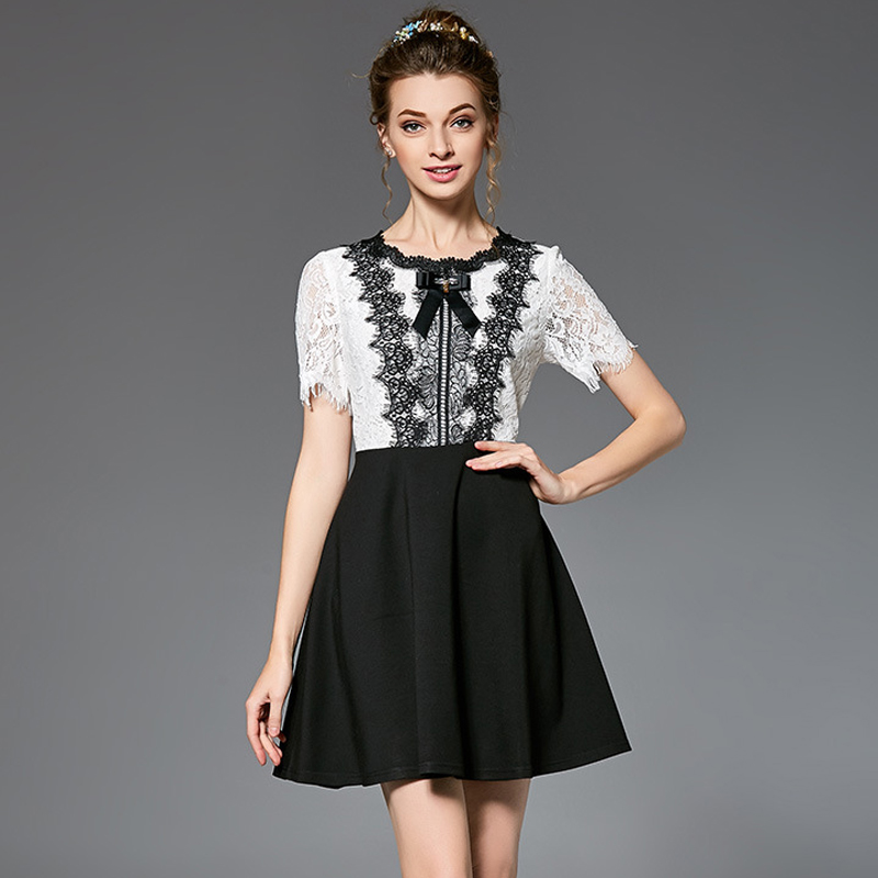 1504a9ac6d US $39.99 30% OFF|OUYALIN L 5XL 2017 Black & White Patchwork Lace Summer  Dress O neck Short Sleeve Bow Slim Fit Flare Dresses Vestidos-in Dresses  from ...
