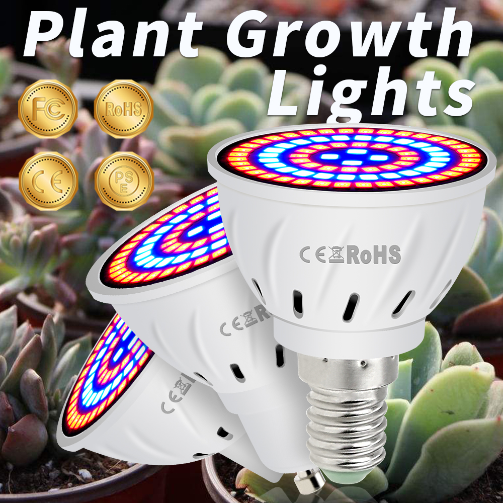 E27 LED Plant Light Bulb E14 220V GU10 Full Spectrum Indoor Plant Growth Lamp Led MR16 Vegetable Growth Greenhouse 48 60 80leds