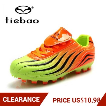 Clearance! TIEBAO Children Football Boots Kids Soccer Shoes Boys Girls AG Teenager Sneakers Chuteira