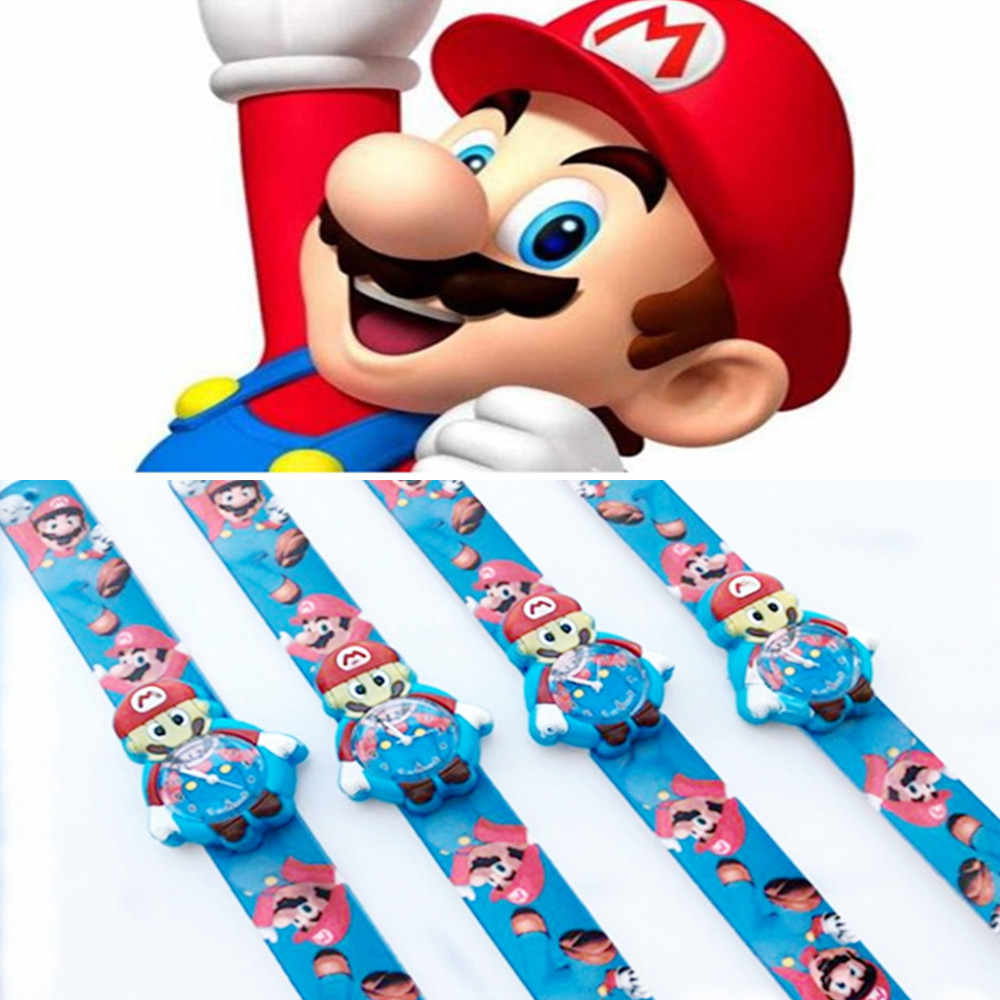 1 pcs Cartoon Quartz Watches Super Mario Action Figures 3D Model Mario Brother Silicone Strap Color Printing Strap Watch Kid Toy