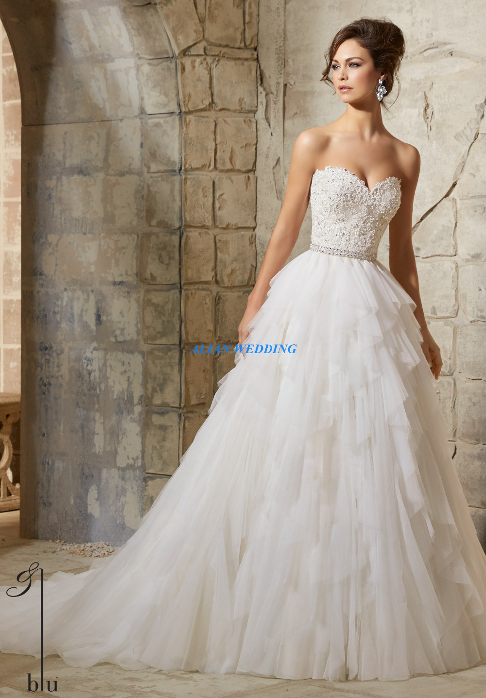 Buy flowy wedding gown a line vestidos de for Sheer bodice wedding dress
