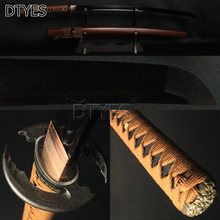 Japanese Samurai Katana Sword Black 1095 High Carbon Steel Full Tang Bo-hi Blade Cenuine Rayskin Thick Silk Segeo Sword Sharp цена