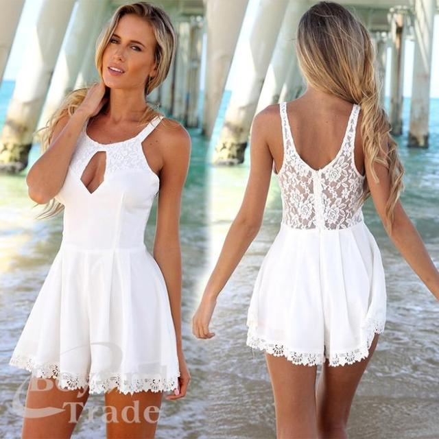 Openwork Lace Stitching Sexy Halter Jumpsuits laysuits Explosion Models Piece Pants Lace Crochet Siamese Culottes for Women