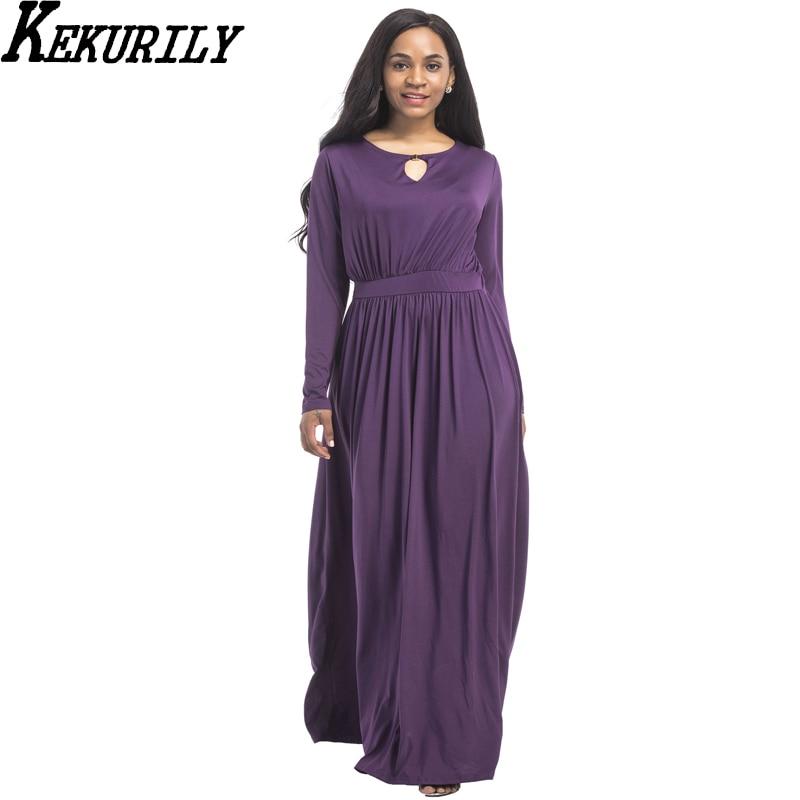 KEKURILY women winter round neck party dress robe noel long sleeve big size 3xl maxi dresses milk silk elegant noble clothing