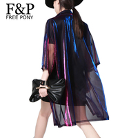 Holographic Summer Muscial Festival Rave Clothes Wear Outfits Clothing Gear Hologram Women Rainbow Metal Sheer Mesh