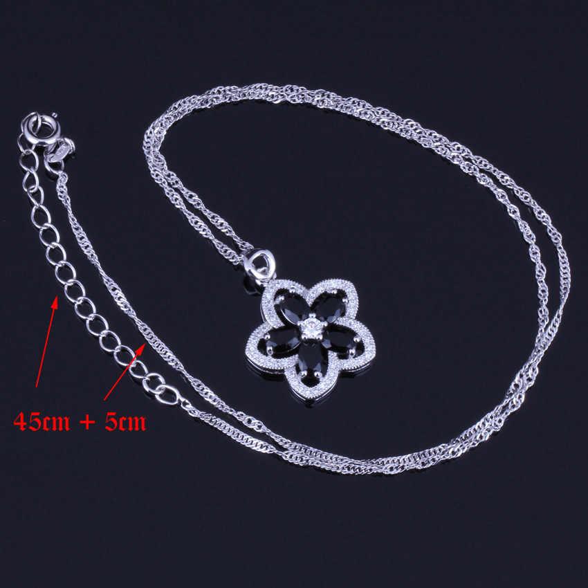 Nobre Preto Zirconia Cúbico Branco CZ 925 Esterlina Conjuntos de Jóias de Prata Para As Mulheres Brincos de Pingente Cadeia V0020