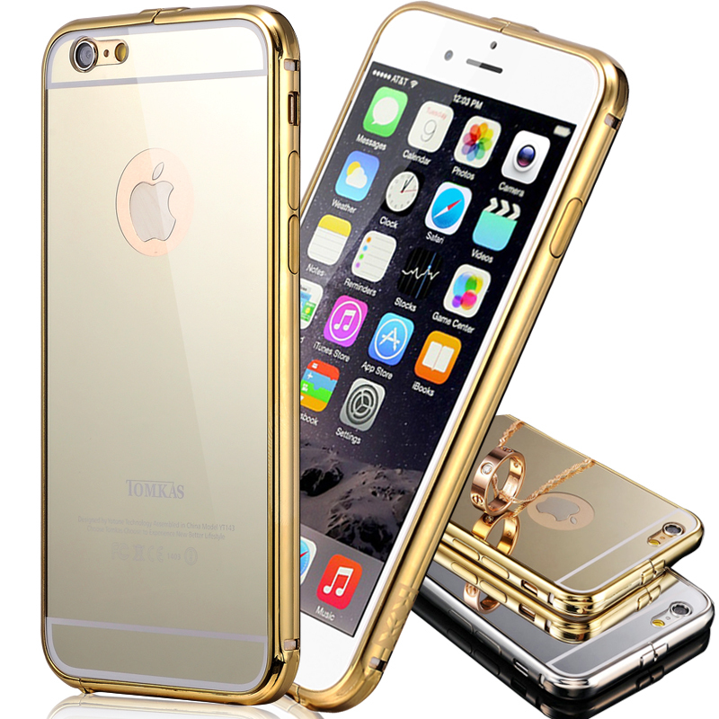 Tomkas Mirror Slim Gold Aluminum Case For iPhone 6 4.7 Inch Coque Luxury Mobile Phone Back Acrylic Cover Bag Cases For iPhone 6