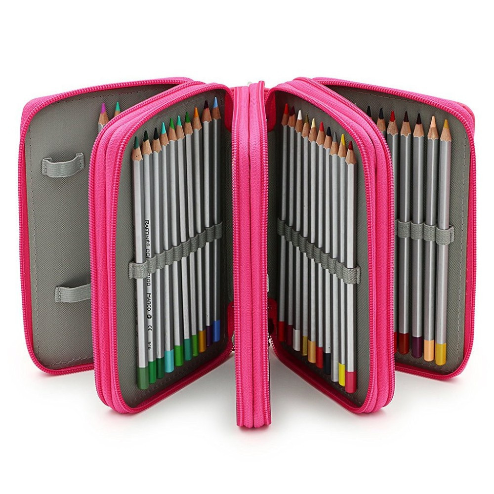 72 Holders 4 Layers Handy PU Leather School Pencils Case Large Capacity Colored Pencil Bag For Student Gift Art Supplies 2 layers 32 holders animal owl school pencil case big capacity colored marker pencil pen bag box for girls boys art supplie
