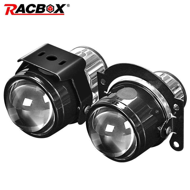 RACBOX Universal de la luz de niebla de la lente del proyector de 2,5 pulgadas de Bi Xenon lentes frente luz para parachoques H11 6000K HID Led bulbo coche Retrofit