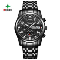 North Top Fashion Mens Quartz Luminous Leather Watch Stainless Steel Commercial Army Sport Waterproof Clock Erkek