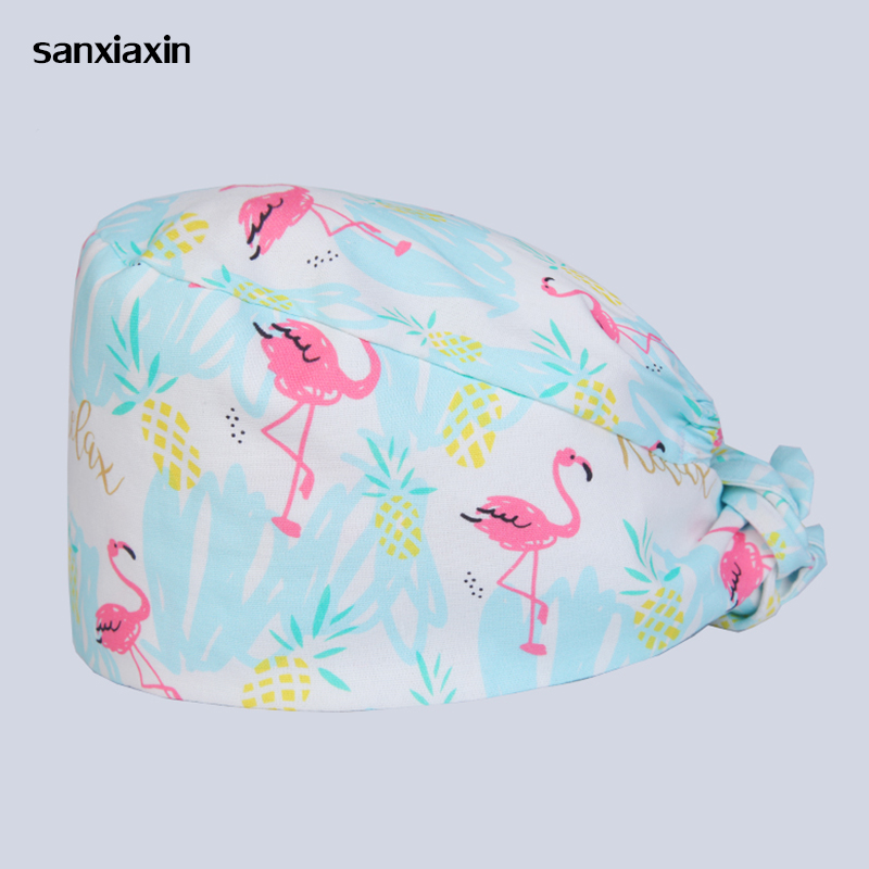 Sanxiaxin Wholesale 100%Cotton Animal Printing Medical Surgical Cap Dentistry Pets Beauty Salon Doctors And Nurses Work Caps