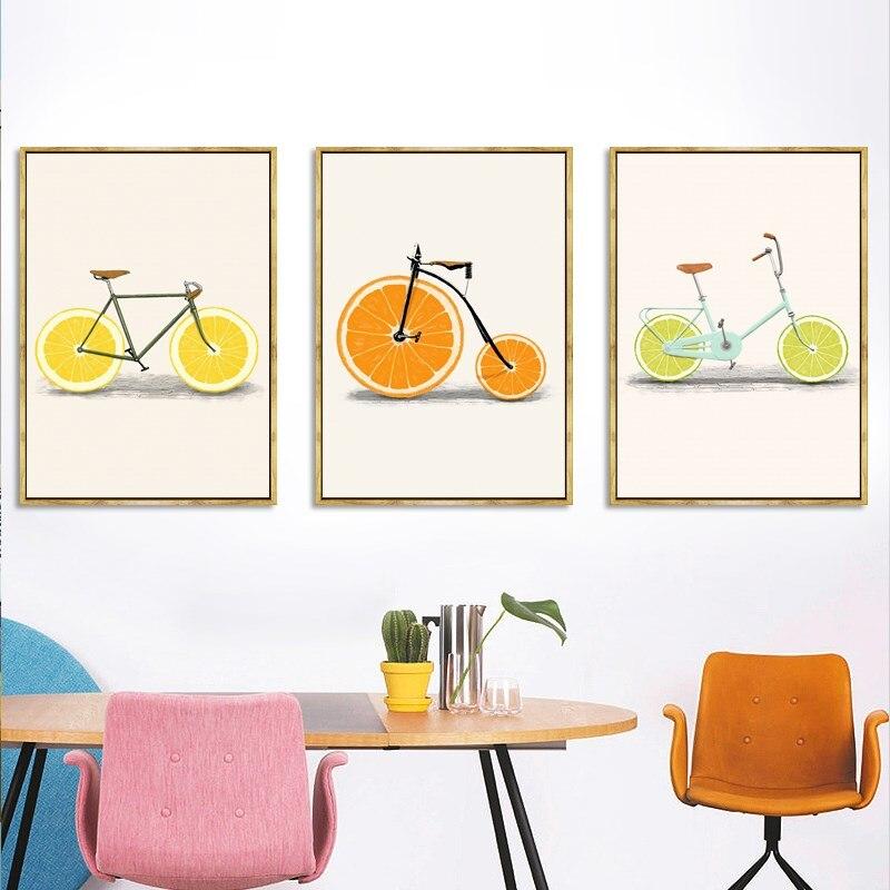 Абстрактная Мода велосипед Лимон Апельсин фрукты печать картины на холсте Кухня Декор скандинавские плакаты минималистские настенные кар...