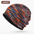 [JAMONT] Striped Beanies Winter Hat and Ring Collar Scarf (2 in 1) Sport Hats for Women E3375