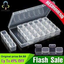 Caja de almacenamiento de plástico para decoración de uñas, 28 rejillas, kits de pintura de diamantes, herramientas de diamantes de imitación, caja de almacenamiento de cuentas, kit de soporte organizador GYH