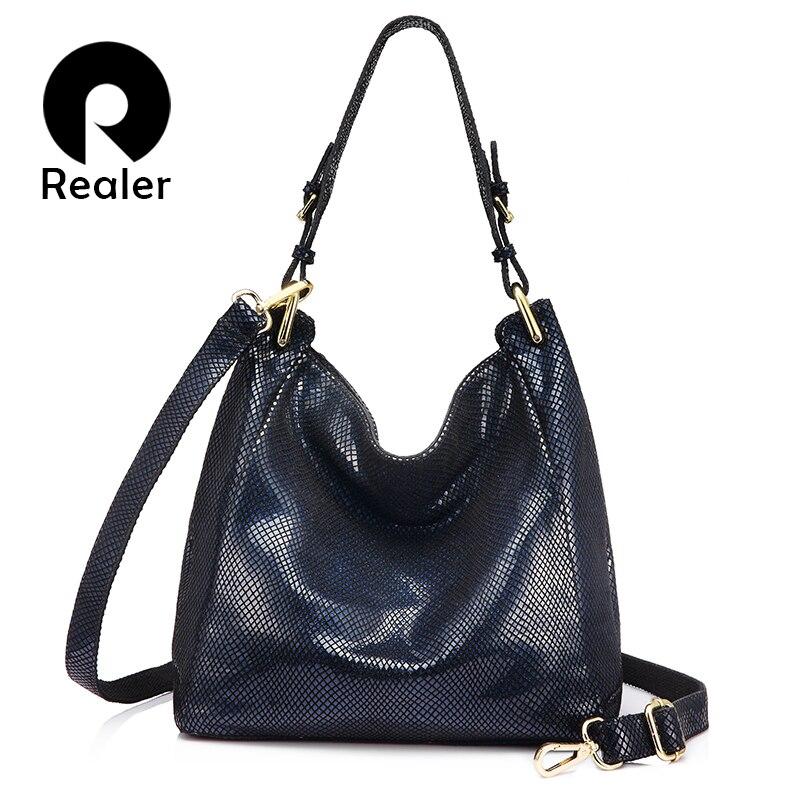 REALER brand women genuine leather shoulder bag female handbag Hobos large capacity with serpentine prints new