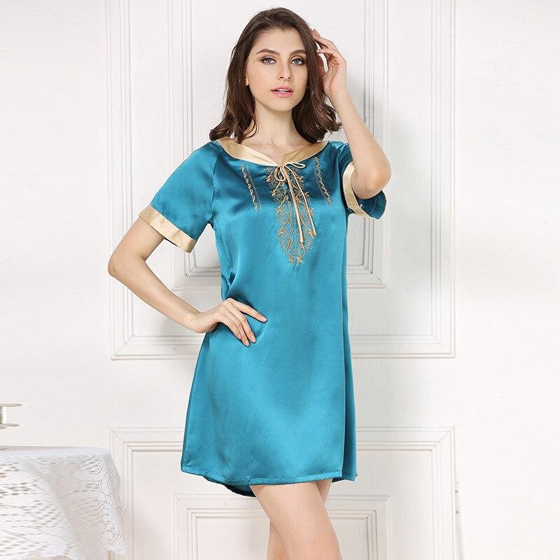 Sexy summer 100% silk sleepdress for woman Candy color short sleeve sexy nightdress noble silk nighshirts sleepdress for women
