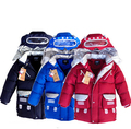 Caliente-venta de invierno nuevo robot de dibujos animados muchachos de la capa niños de down abrigos niños bebés prendas de abrigo abajo capa y la chaqueta