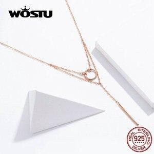 Image 2 - WOSTU แท้ 925 เงินสเตอร์ลิงเรขาคณิตสร้อยคอแฟชั่น Simple & วงกลมน่ารักปรับสร้อยคอผู้หญิง CTN078