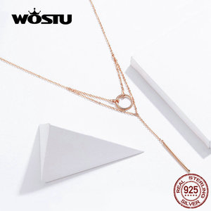 Image 2 - WOSTU otantik 925 ayar gümüş geometri kolye sıcak moda basit ve sevimli daire ayarlanabilir kolye kadınlar için CTN078