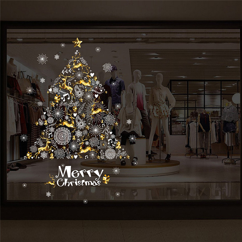 Christmas Shop Window Decoration Wall Removable Stickers Christmas Tree Deer Wholesale Free Shipping 30RI28