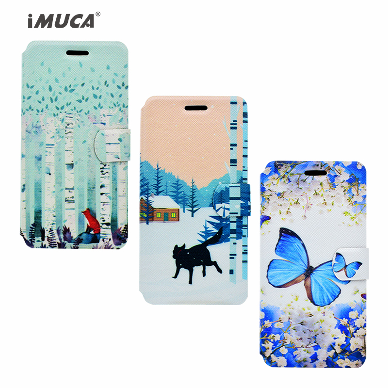 iMUCA Case for iPhone 7 Magnetic Wallet PU Leather Cover for iPhone 8 Flip Case Cover Painted Flower Butterfly Bag