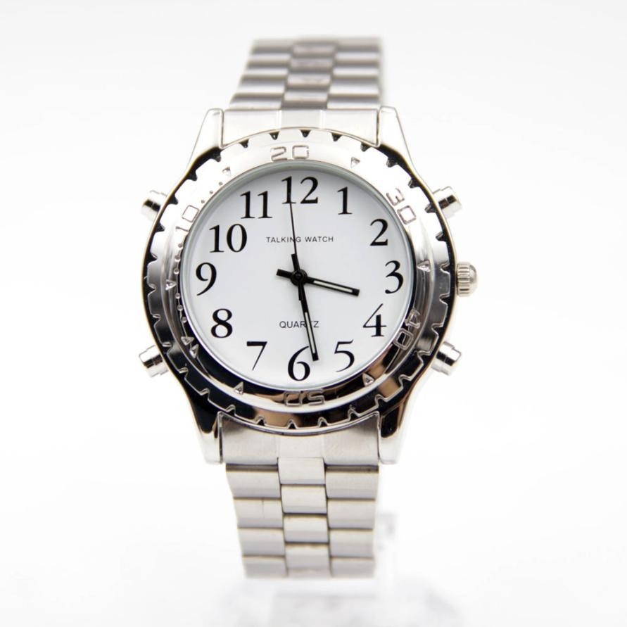 Unique Wristwatch Talking English Clock For Blind Or Visually Impaired Stainless Steel Quartz Watches Relogios все цены