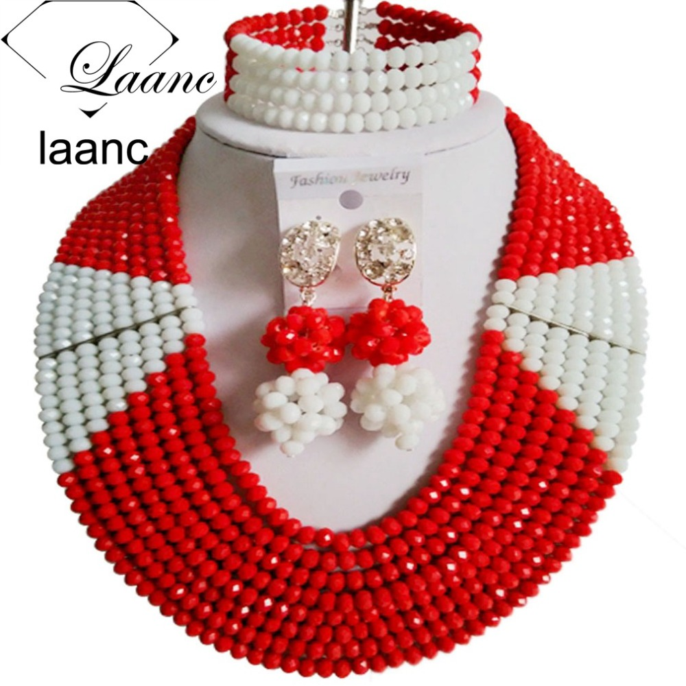 Laanc Earrings Bracelet Jewelry-Set Indian Necklace Bridesmaid Beads Crystal Nigerian