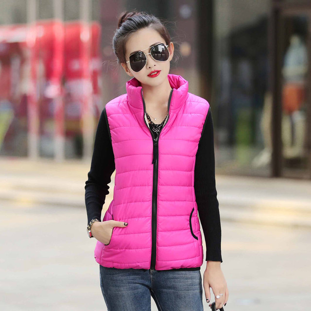 e9d6cea5fd0 Autumn Winter Coat Women Ladies Gilet Colete Feminino Casual Waistcoat  Female Sleeveless Cotton Vest Jacket Plus Size
