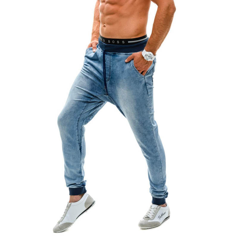Men's Indigo Drop Crotch Denim Jogger Pants Close Button Drawstring Regular Fit Blue Denim   Jeans   Harem Denim Pants