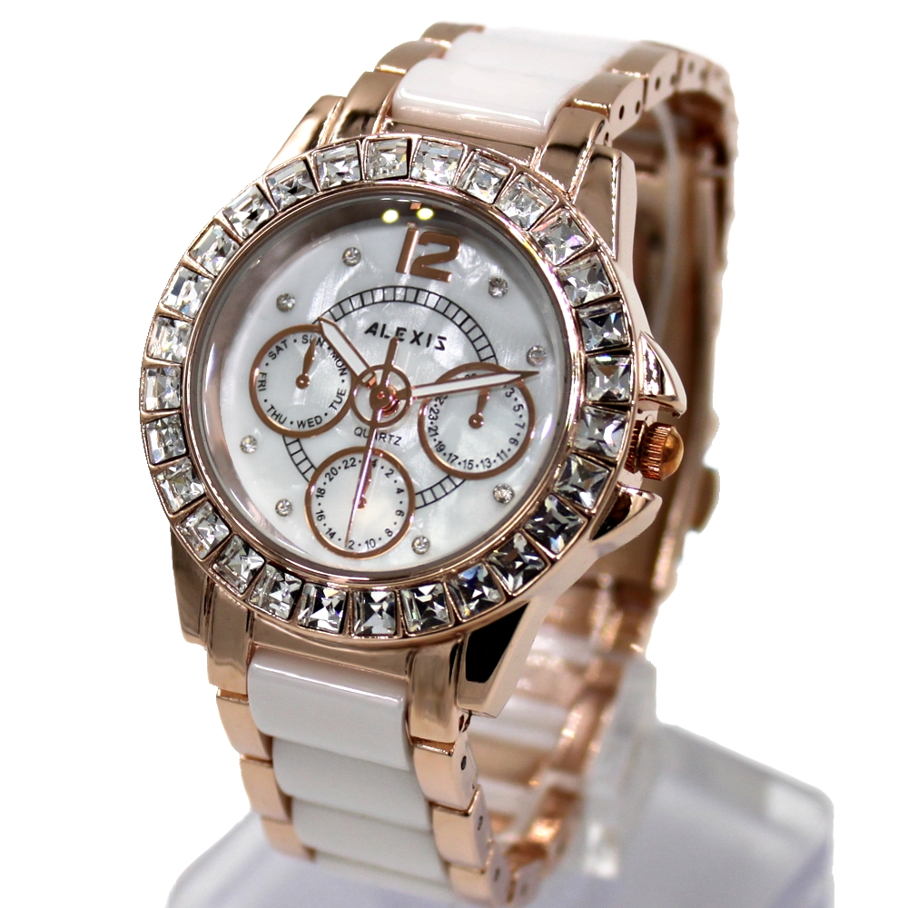 ALEXIS Brand Water Resist White Dial Lovely Ladies Luxury Ceramic Crystal Bracelet Watch Women 2017 Ladies Watches Montre Femme natural brand new gold ceramic watches shell white dial water resistant rose crystal ladies bracelet watch fw830v free gift box