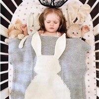 Mooie Konijn Gebreide Deken Op De Bed Katoen Mengen Antipilling Super Zachte Leuke Baby Kid's Slapen Cobertor 5 Kleuren