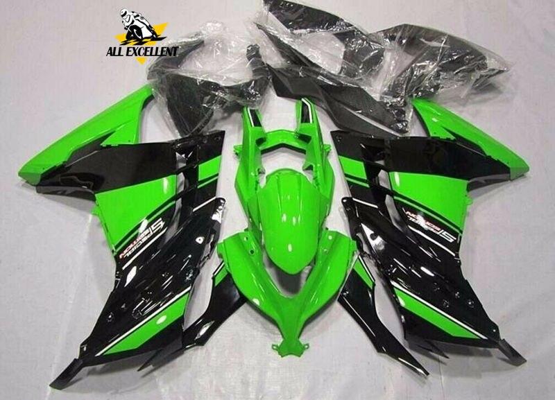 ABS пластик обтекатель кузова литья под давлением Комплект для Kawasaki Ninja 300 EX300R 2013 2016 зеленый черный