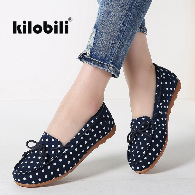 kilobili Polka dot slip-on ballet flats women shoes   suede     leather   loafers casual women flat ballerina boat shoes loafers shallow