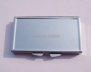 Image 4 - Venta al por mayor 100 piezas en blanco rectángulo píldora cajas de Metal píldora contenedor 7 redes Mini de viaje portátil caso. DHL envío gratis