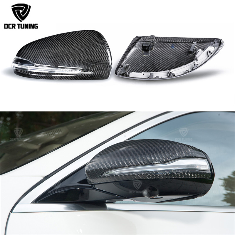 For Mercedes W205 W222 W213 W238 X205 Benz C S GLC E Class Double Carbon Fiber Mirror 1:1 Replace Style AMG Dry carbon mirror