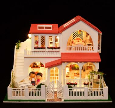 Hobby Assembly Scale Model 3D DIY Wooden Dollhouse Pink Dream HouseHandmade Doll House With