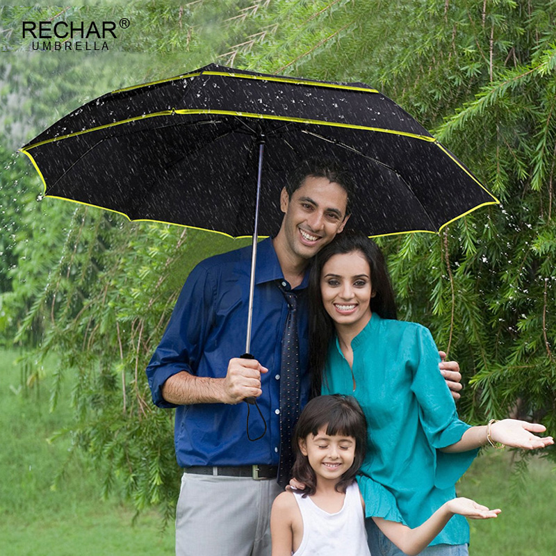RECHAR Brand <font><b>Big</b></font> <font><b>Golf</b></font> Business <font><b>Umbrella</b></font> Men Rain Woman Double Layer Windproof Paraguas 2flod Top Quality Women Outdoor <font><b>Umbrella</b></font> image
