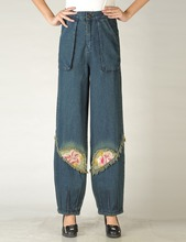 spring Autumn female trousers national trend embroidered denim jeans plus size high waist wide leg pants