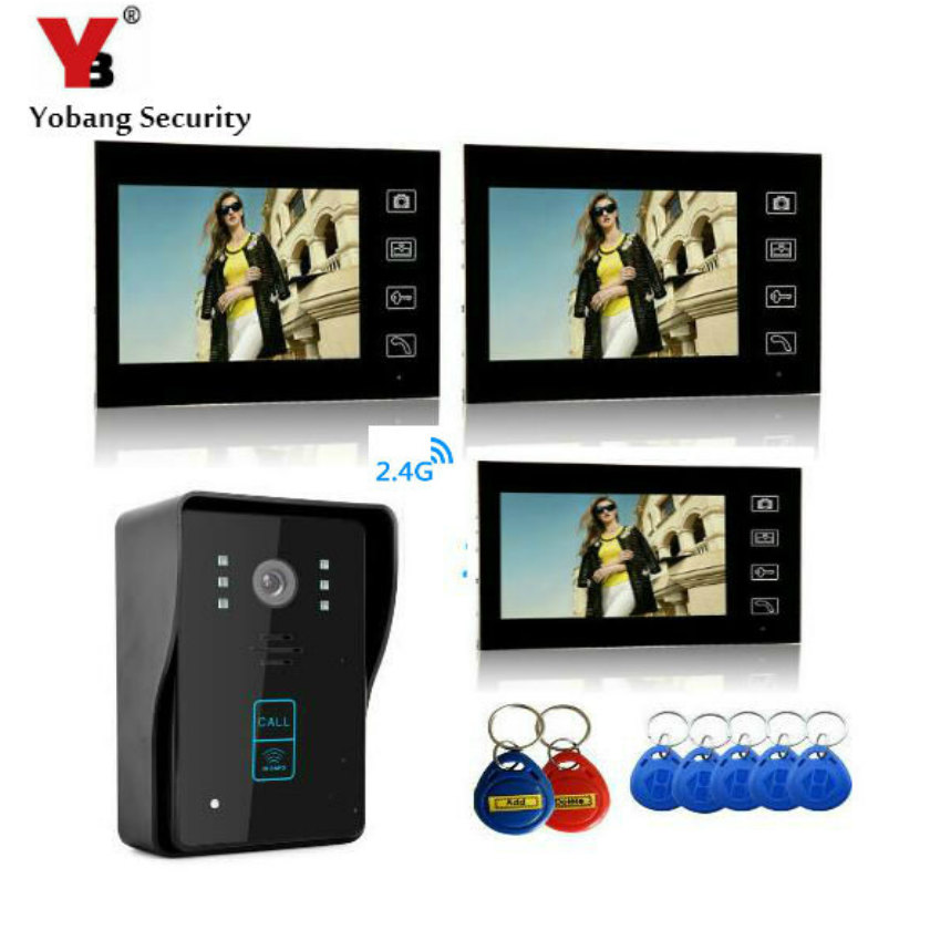 YobangSecurity 2.4G 7 TFT LCD Wireless Video Door Phone Doorbell Wireless Phone Intercom 1camera 3 Monitor With RIFD Keyfobs yobangsecurity video door intercom entry system 2 4g 9 tft wireless video door phone doorbell home security 1 camera 2 monitor