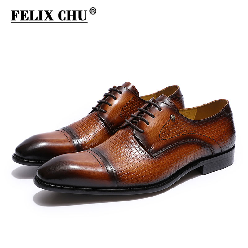 FELIX CHU Italy mens dress shoes genuine leather cap toe derby shoes brown black man formal shoes business office shoes men felix chu luxury mens dress shoes genuine leather pointed toe brogue derby shoes green black male lace up formal shoes leather