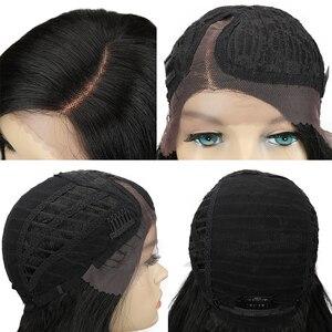 Image 5 - קסם שיער 26 Inch Ombre כהה אדום בלונד ארוך גלי פאות תחרה מול שיער סינטטי תחרת פאות עבור נשים שחורות חום עמיד שיער