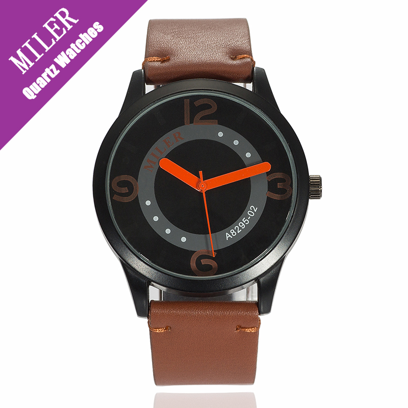 Miler New Brand Men Watches Casual Fashion Classic Leather Strap Man Boys Creative Business Sport Quartz Black Wristwatches