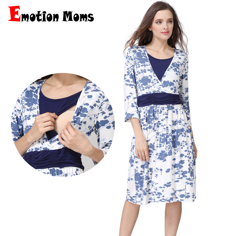 все цены на Emotion Moms Summer Spring Pregnancy Maternity Clothes Nursing dress Breastfeeding Dresses for Pregnant Women Maternity Dress в интернете