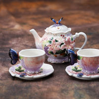 Lily tea set butterfly teapot cup and Saucer Set ceramic cup combination kettle teacup set coffee cup flowers and plants