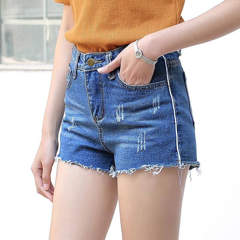 Yichaoyiliang Summer Casual Denim Shorts Women High Waist Ripped ...